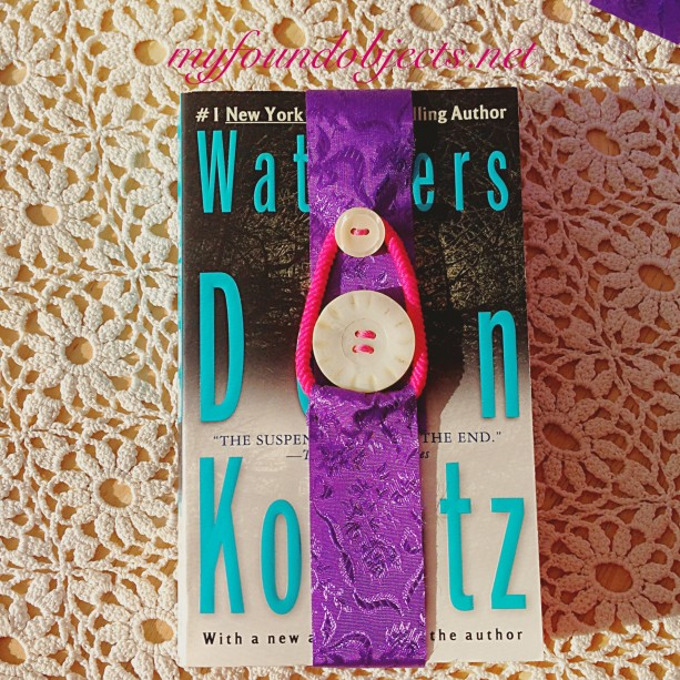 Bookmark, Purple Ribbon with Ivory Vintage Buttons