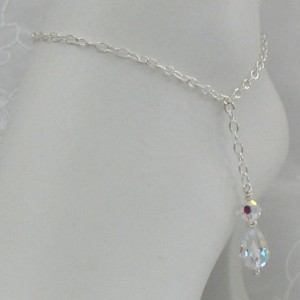 Elegant Beautiful Sterling Silver Swarovski Dangle Anklet