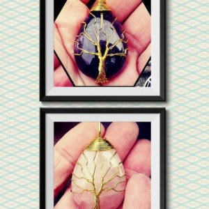 Gold Rose Quartz Tree of Life Pendant