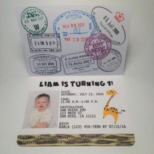 Passport to the jungle birthday invitation- Safari Kids Birthday Party Invitation- set of 15