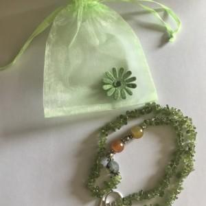Semiprecious Green Peridot Agate Necklace
