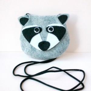 Raccoon Wool Felt Purse