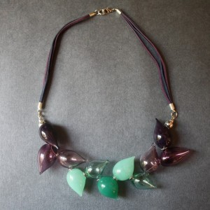 Blown Glass Lightweight Necklace - Green, Purple Colors - Elegant