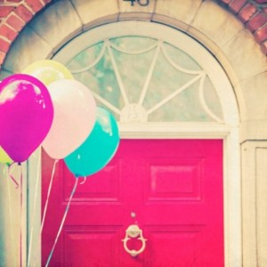 Balloon Photography - 8x10 photograph - New York - Red Door Balloons - fine art print - vintage photography - pastel balloons - nursery art