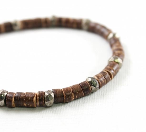 Men's bracelet: coconut bracelet with pyrite, mens jewelry, wooden, brown