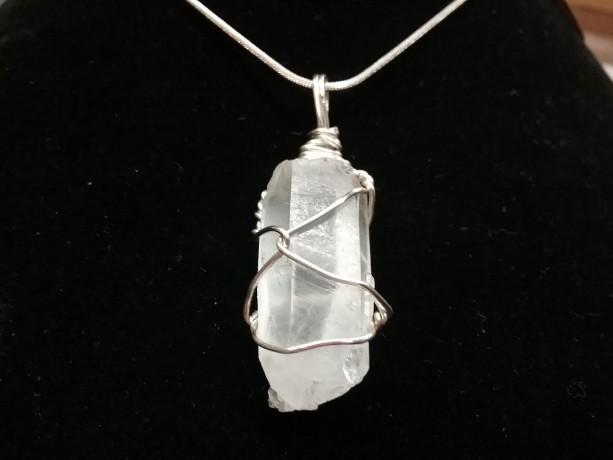 Clear Quartz Necklace Gemstone Necklace Clear Quartz Wire Wrapped Pendant Necklace