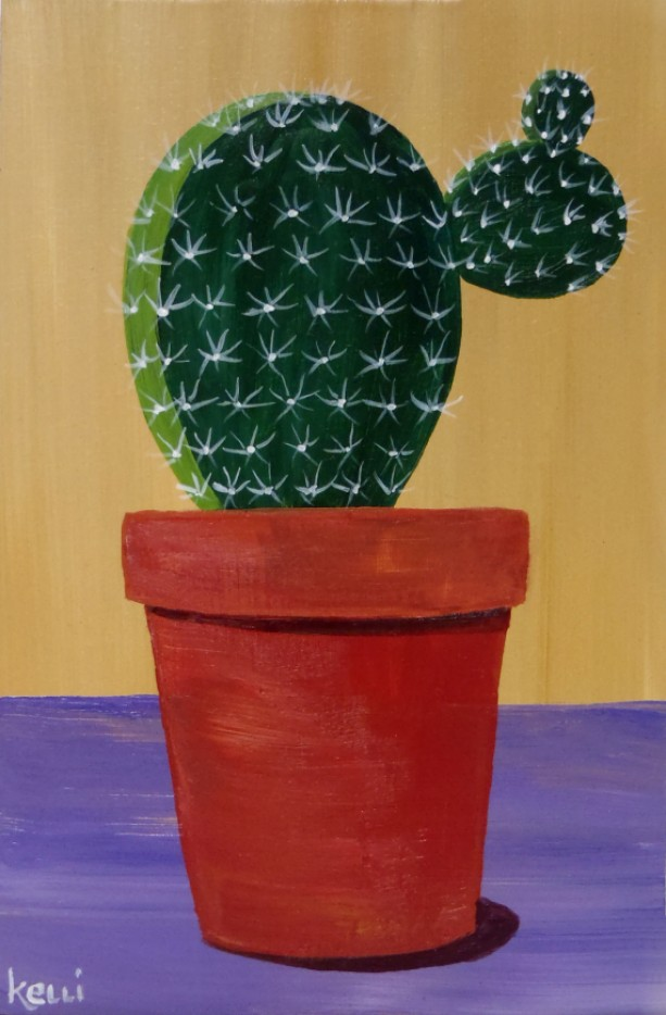 """Potted Cactus 8"" original painting"