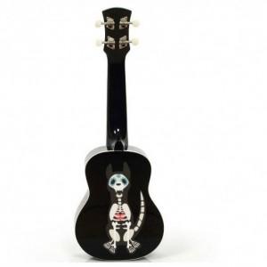 Halloween, Dia de los Muertos, Day of the Dead Dog, ukulele, Sugar Skull Cat, Soprano Ukulele, Black Ukulele, Custom Painted Ukulele, ukele