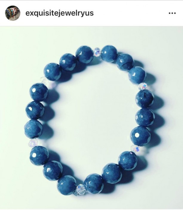 Exquisite, Gorgeous Blue Jade/Crystal Bracelet