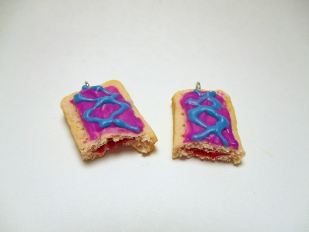Wild Berry Toaster Pastry Earrings, Toaster Tart, Toaster Pop, Wild Berry Tart Earrings, Toaster Pastry Earrings, Breakfast Pastry Earrings