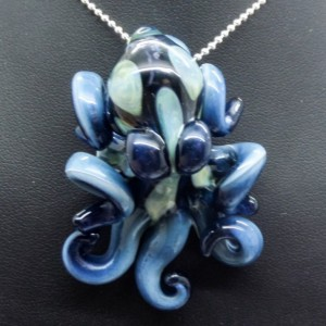 The Lustrous Blue Kracken Collectible Wearable  Boro Glass Octopus Necklace / Sculpture Made to Order