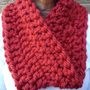 Chunky Cranberry Red Infinity Scarf, Crimson Infinity Scarf