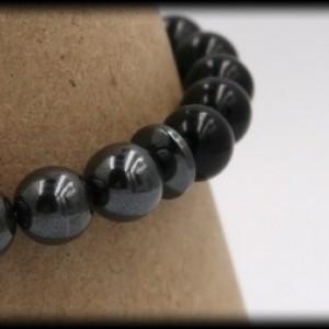 Black Onyx and Hematite Buddha Gemstone Bracelet