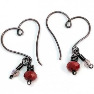 Heart Shaped Hoops - Copper wire, Czech Glass earrings