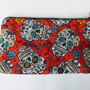 Large Matching Sugar Skull Travel Bag, Travel Cases, Cosmetic Bag, Zipper Bag, School Supply Bag, Gift under 20