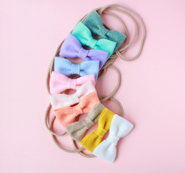 Wool Felt Bow (Set of 3), newborn baby, little girl, toddler hair