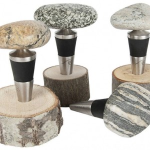 Sea Stones Stone and Stainless Steel Bottle Stopper, Wine Stopper, Barware, Natural Stone, Rubber Plug Seals Tight