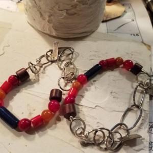 Gemstones and sterling silver links bracelet