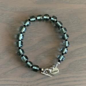 Men's clear gray handmade glass beaded bracelet 7-8mm