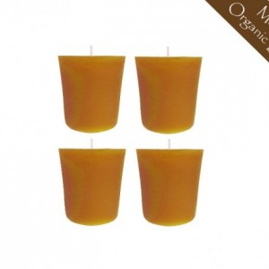 Set of 4 100% Raw Organic Beeswax Votive Candles 2oz