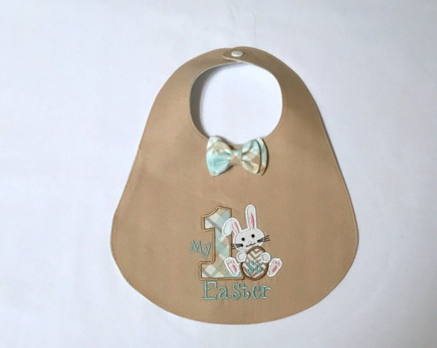 My First Easter Bib with optional Coordinating Diaper Cover in Khaki and Plaid
