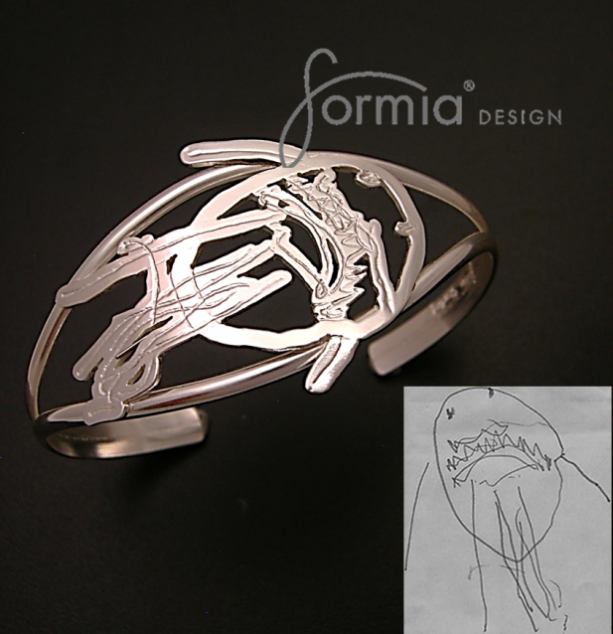 Silver bangle bracelet using your own child's artwork