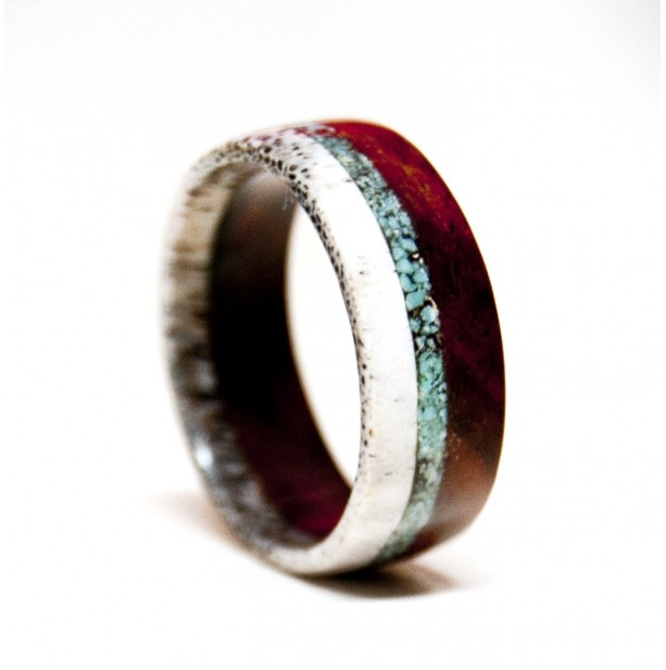 Wood and Antler ring with Turquoise Inlay