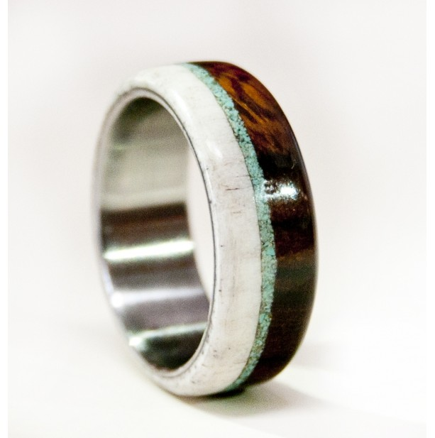 Mens Wedding Band Wood And Antler Ring With Turquoise And Titanium