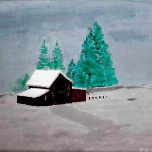 Barn in Snow Lanscape Painting