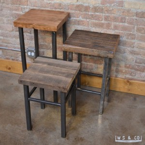 "Table Stool - 18""  Reclaimed Wood & Metal Legs"