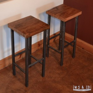 "Bar Stool - 30""  Reclaimed Wood & Metal Legs"