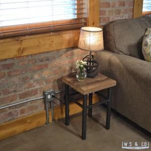"Table Stool - 18""  Reclaimed Wood & Metal Legs"