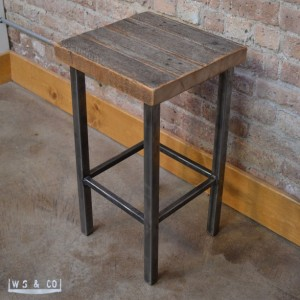 "Counter Stool - 25""  Reclaimed Wood & Metal Legs"