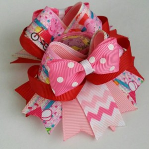 Peppa pig inspired Stacked Boutique Hair Bow, Peppa pig hair bow,  peppa pig bow, peppa pig party, peppa pig birthday party, peppa pig