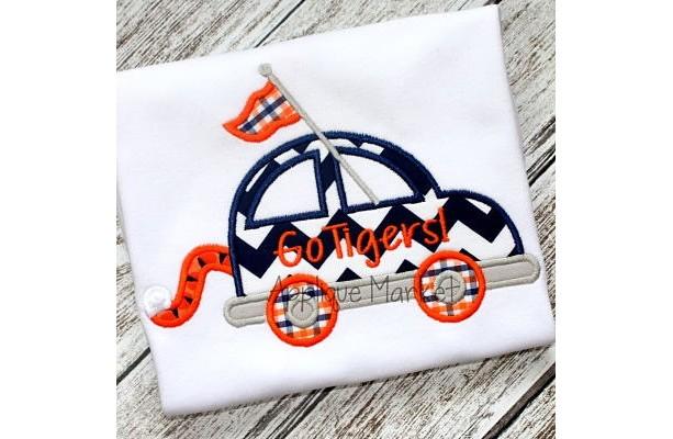 Tiger Tail and Car Appliqué Shirt or Bodysuit - Football Shirt