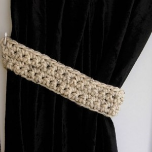 Handmade Crochet Curtain Tiebacks,Tie Backs Set, One Pair of Oatmeal Beige Light Brown Tweed, Color Options, Drapery Drapes Holders, Simple Tie Backs, Standard & Custom Sizes
