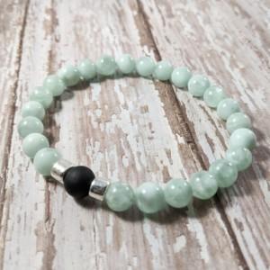 The Kenji | handmade beaded stretch bracelet, green moonstone, matte black glass, silver Mykonos ceramic, men's / unisex, Gifts for Him