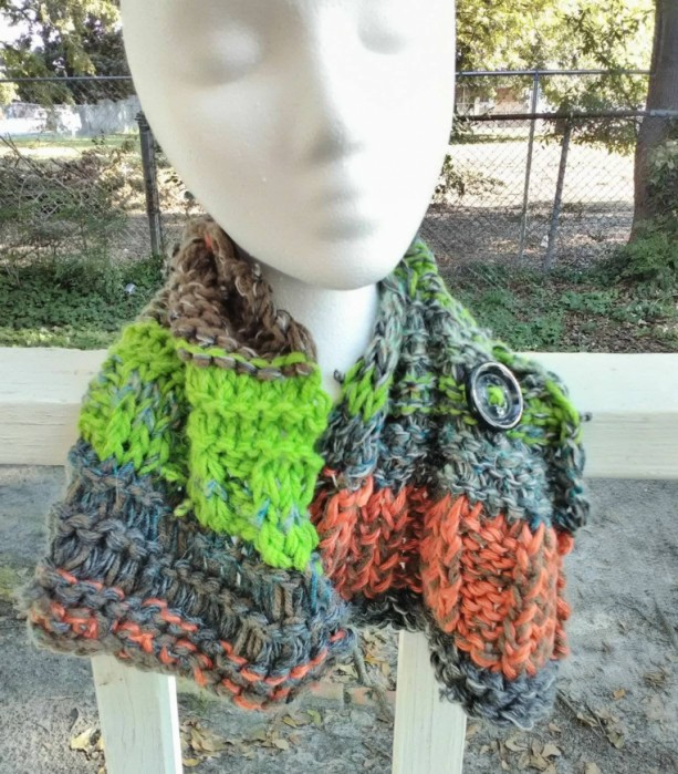 Knit cowl, short scarf with button closure, boho style