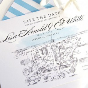 Lincoln, Nebraska Skyline Hand Drawn Save the Date Cards (set of 25 cards)