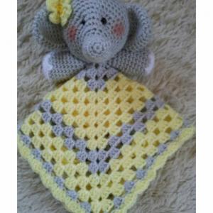 Elephant Lovey Baby Blanket, Comfort Blanket, Security Blanket, Baby Shower Gift