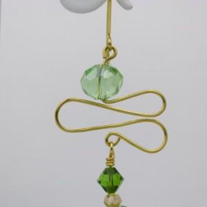 Gold Swirls, Swarovski Emerald, Peridot Gemcut and Green Ovals Glass Earrings
