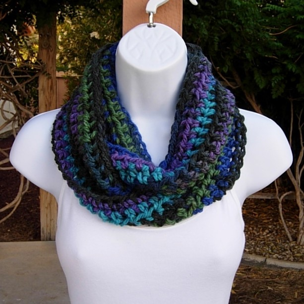 Small Winter INFINITY SCARF, Extra Soft Acrylic Loop Cowl, Black Turquoise Blue Green Purple, Short Crochet Knit Circle, Neck Warmer, Ready to Ship in 2 Days
