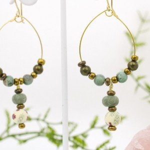 Green and White, Blue and Purple Floral Clay Earrings, Metallic Round Beads, with Metal Spacers Earrings