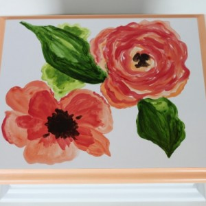 Peach watercolor floral - Baby Keepsake Memory Box personalized baby gift