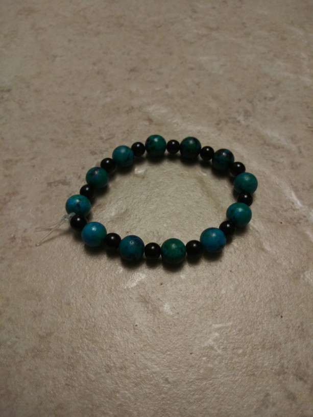 Black and Aqua Beaded Stretch Bracelet