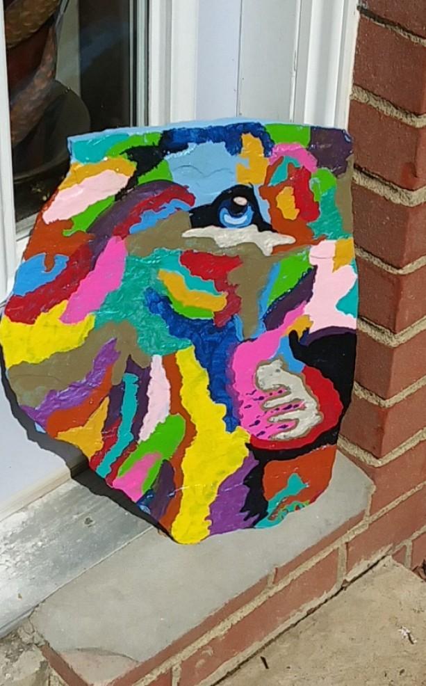 Lion in the Garden Stone, Outdoor Art, Doorstops, Custom Art, Paperweights, Walkway Stone, Patio Decor, Garden Decor, Home Decor,