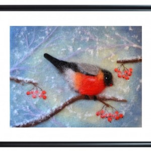 "Wool Painting ""Bullfinch eating winter berries"""