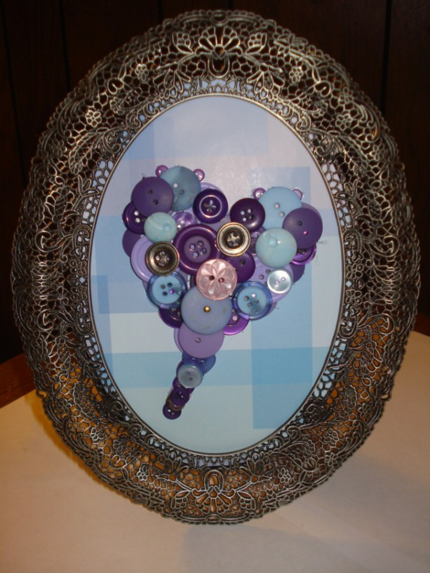 Purple button heart--framed