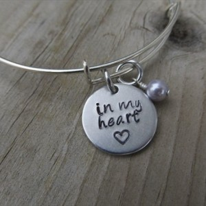 """Loved One Memorial, Inspiration Bracelet- Hand-Stamped """"in my heart"""" with stamped heart, and an accent bead in your choice of colors"""