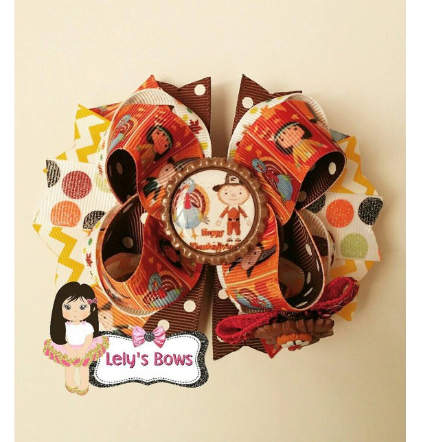 Thanksgiving Hair Bow, Thanksgiving hairbow, Thanksgiving clip, Thanksgiving bow, pilgrims hairbow, turkey hairbow, Indian bow, Thanksgiving